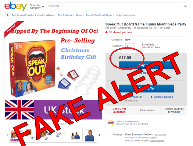 Speak Out Game Fake Counterfeit Alert